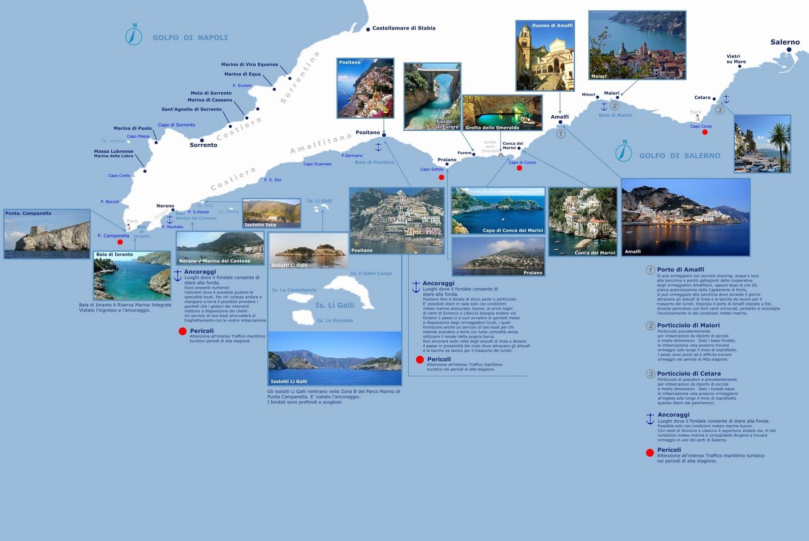 Cartina Geografica Della Costiera Amalfitana.Itinerari Vacanze In Barca A Vela Crociere Imbarchi Individuali